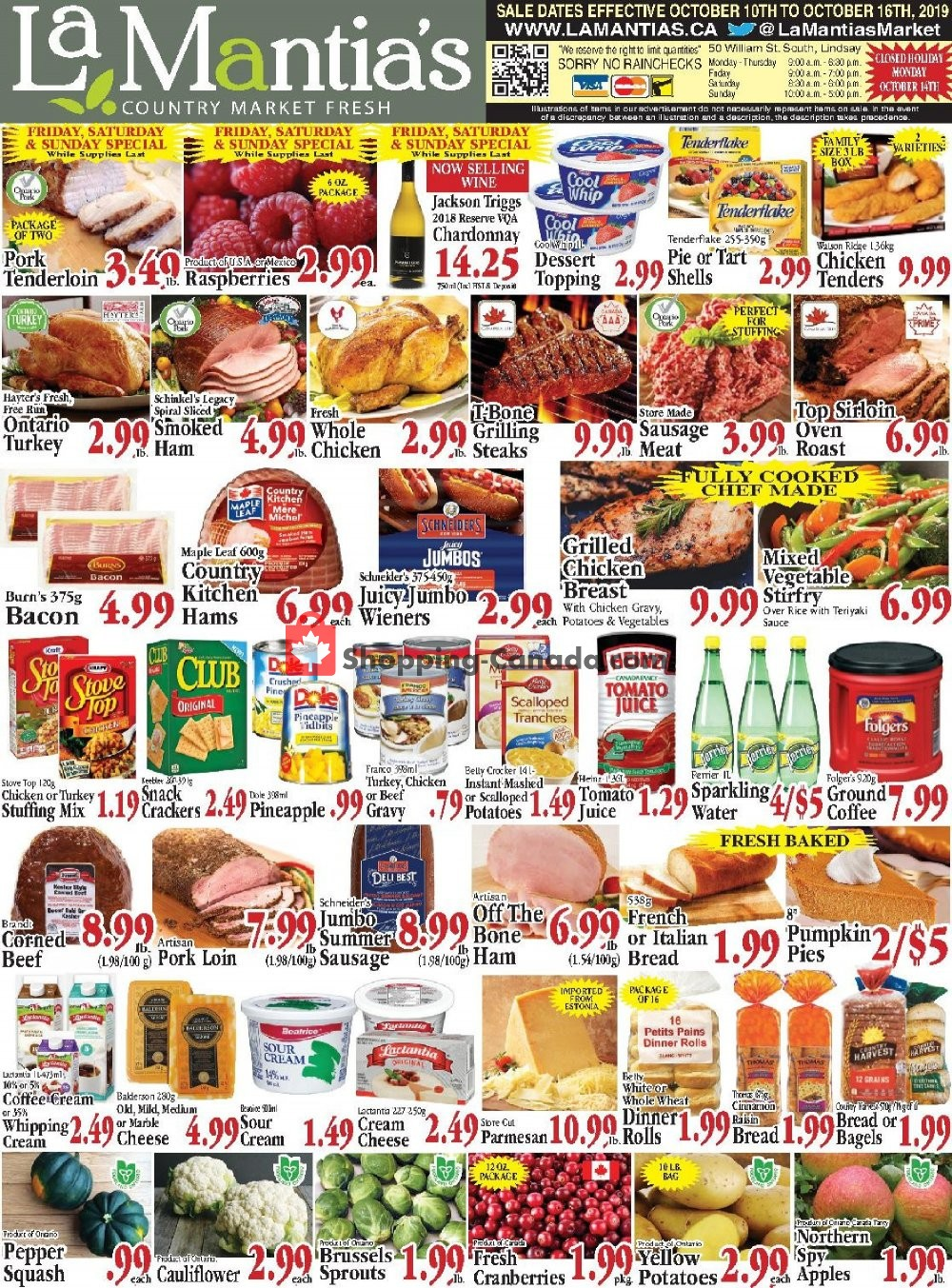 Flyer Lamantia's Country Market Canada - from Thursday October 10, 2019 to Wednesday October 16, 2019