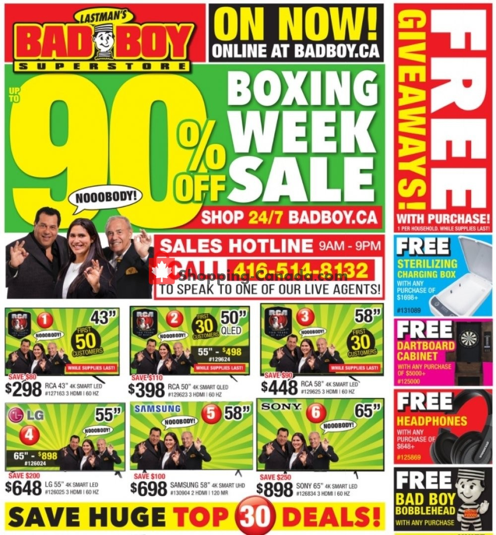 Flyer Lastman's Bad Boy Canada - from Saturday December 26, 2020 to Wednesday January 13, 2021