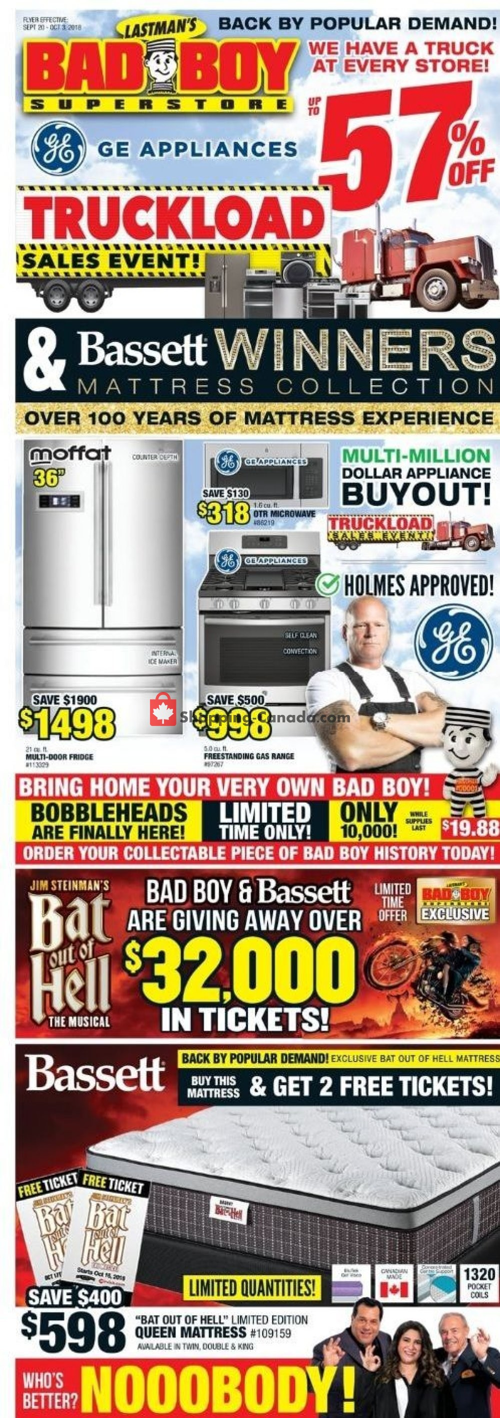 Flyer Lastman's Bad Boy Canada - from Thursday September 20, 2018 to Thursday October 11, 2018