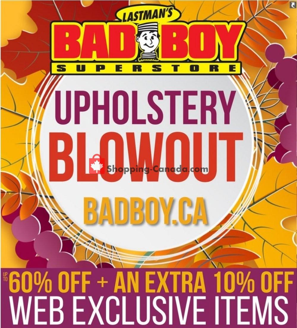 Flyer Lastman's Bad Boy Canada - from Friday September 20, 2019 to Thursday October 10, 2019