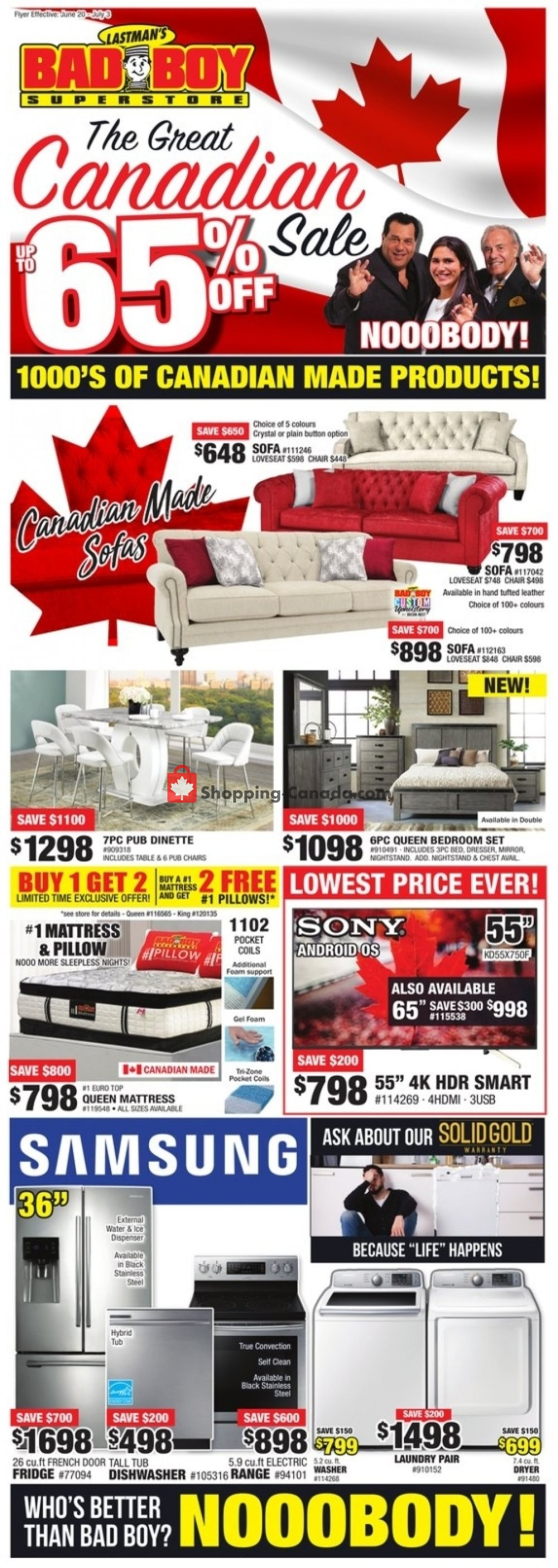 Flyer Lastman's Bad Boy Canada - from Thursday June 20, 2019 to Wednesday July 3, 2019