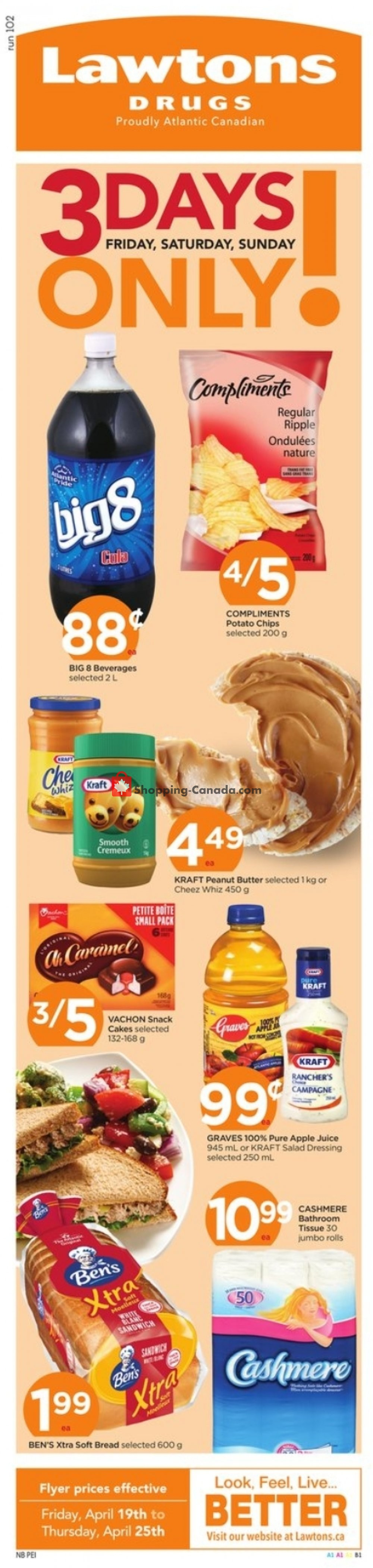 Flyer Lawtons Drugs Canada - from Friday April 19, 2019 to Thursday April 25, 2019