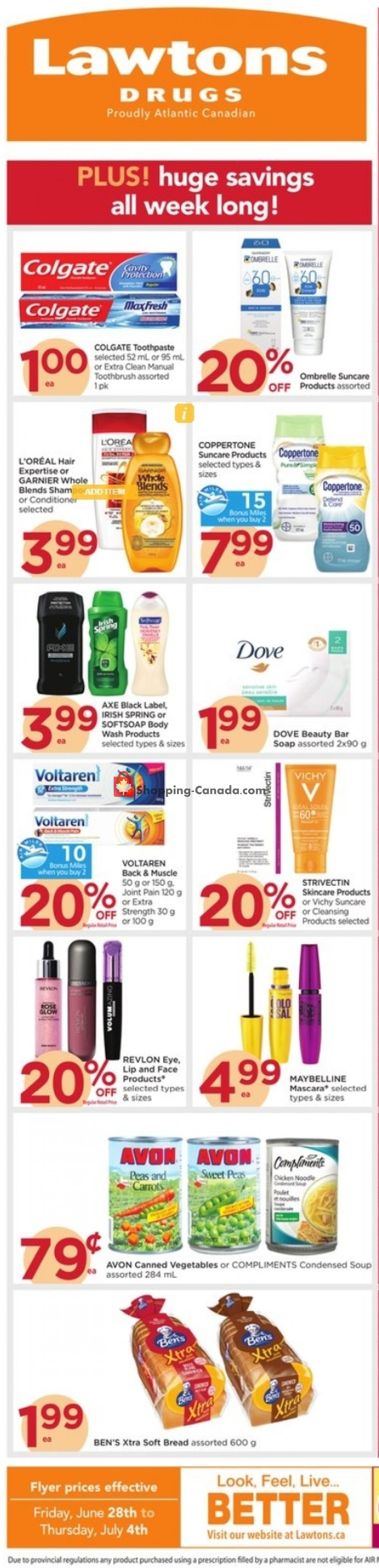 Flyer Lawtons Drugs Canada - from Friday June 28, 2019 to Thursday July 4, 2019