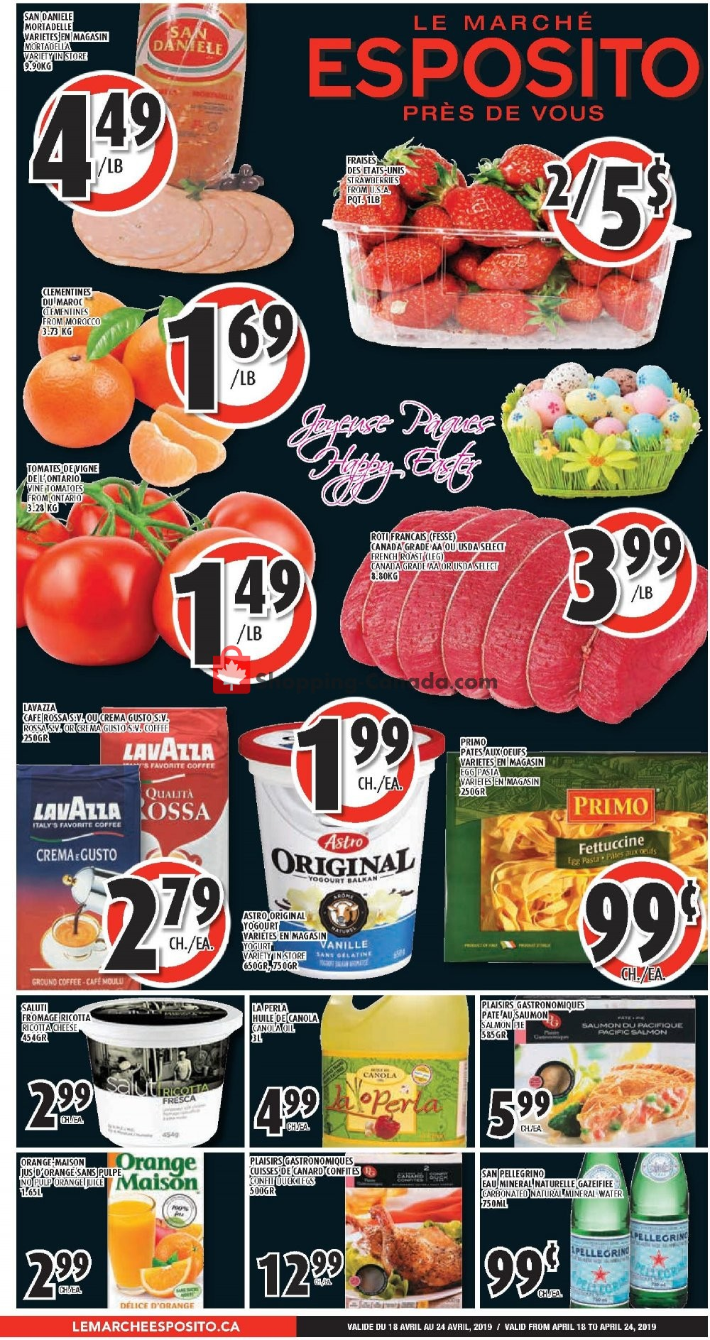 Flyer Le Marché Esposito Canada - from Thursday April 18, 2019 to Wednesday April 24, 2019