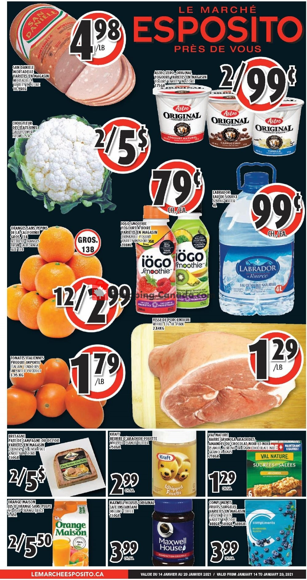 Flyer Le Marché Esposito Canada - from Thursday January 14, 2021 to Wednesday January 20, 2021