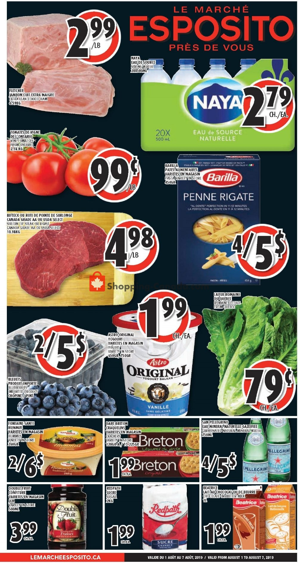 Flyer Le Marché Esposito Canada - from Thursday August 1, 2019 to Wednesday August 7, 2019