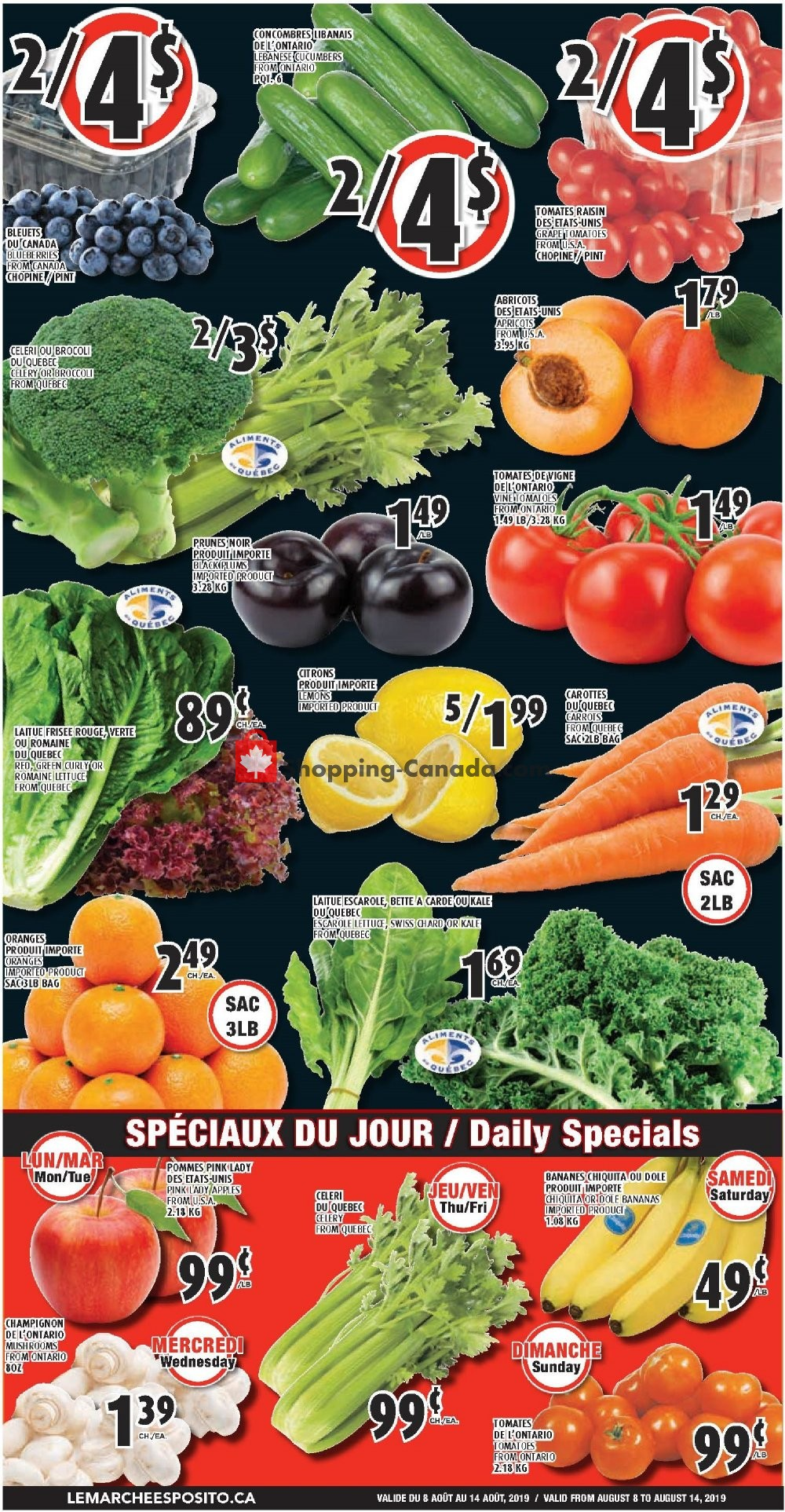 Flyer Le Marché Esposito Canada - from Thursday August 8, 2019 to Wednesday August 14, 2019