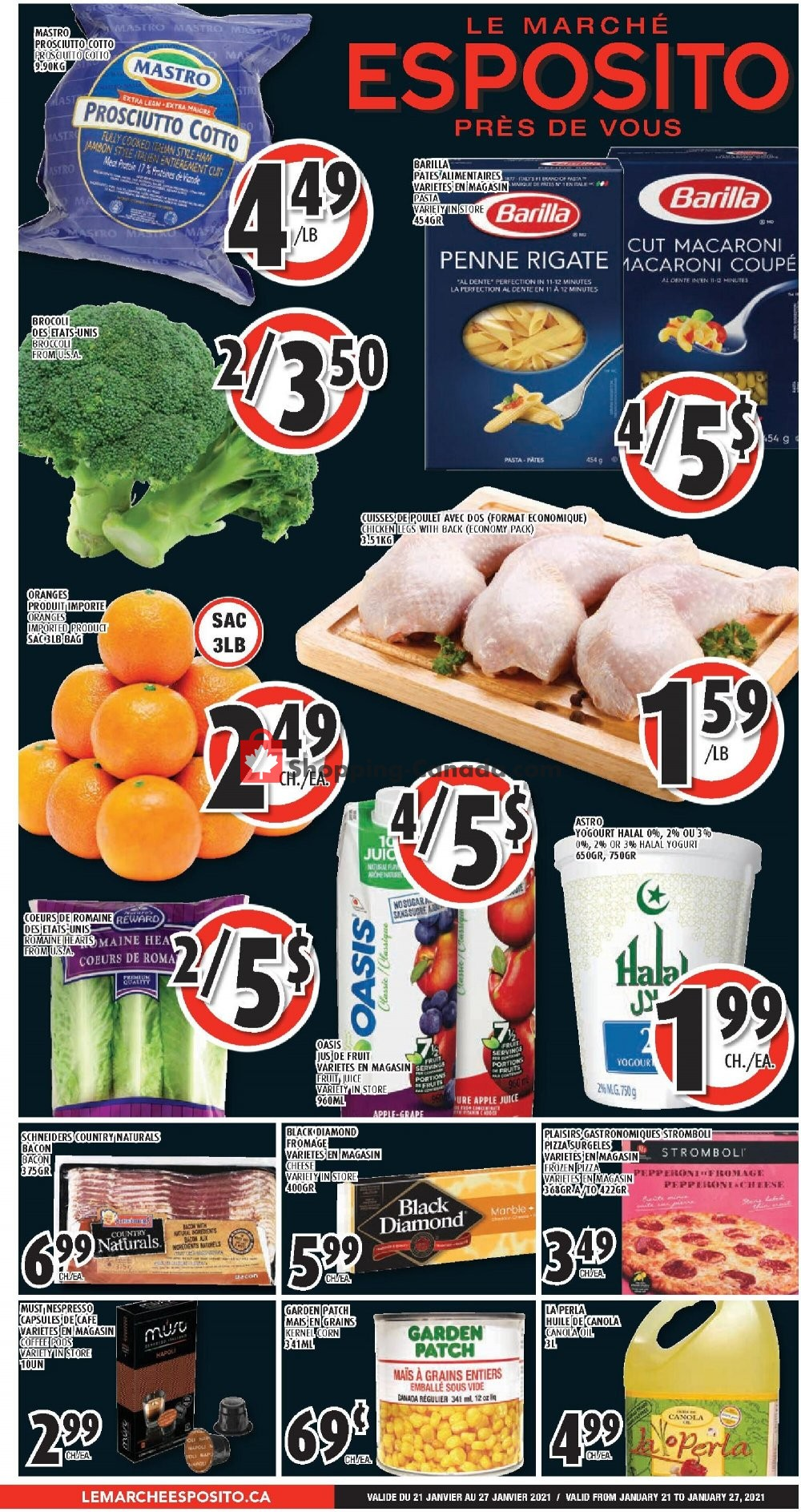 Flyer Le Marché Esposito Canada - from Thursday January 21, 2021 to Wednesday January 27, 2021