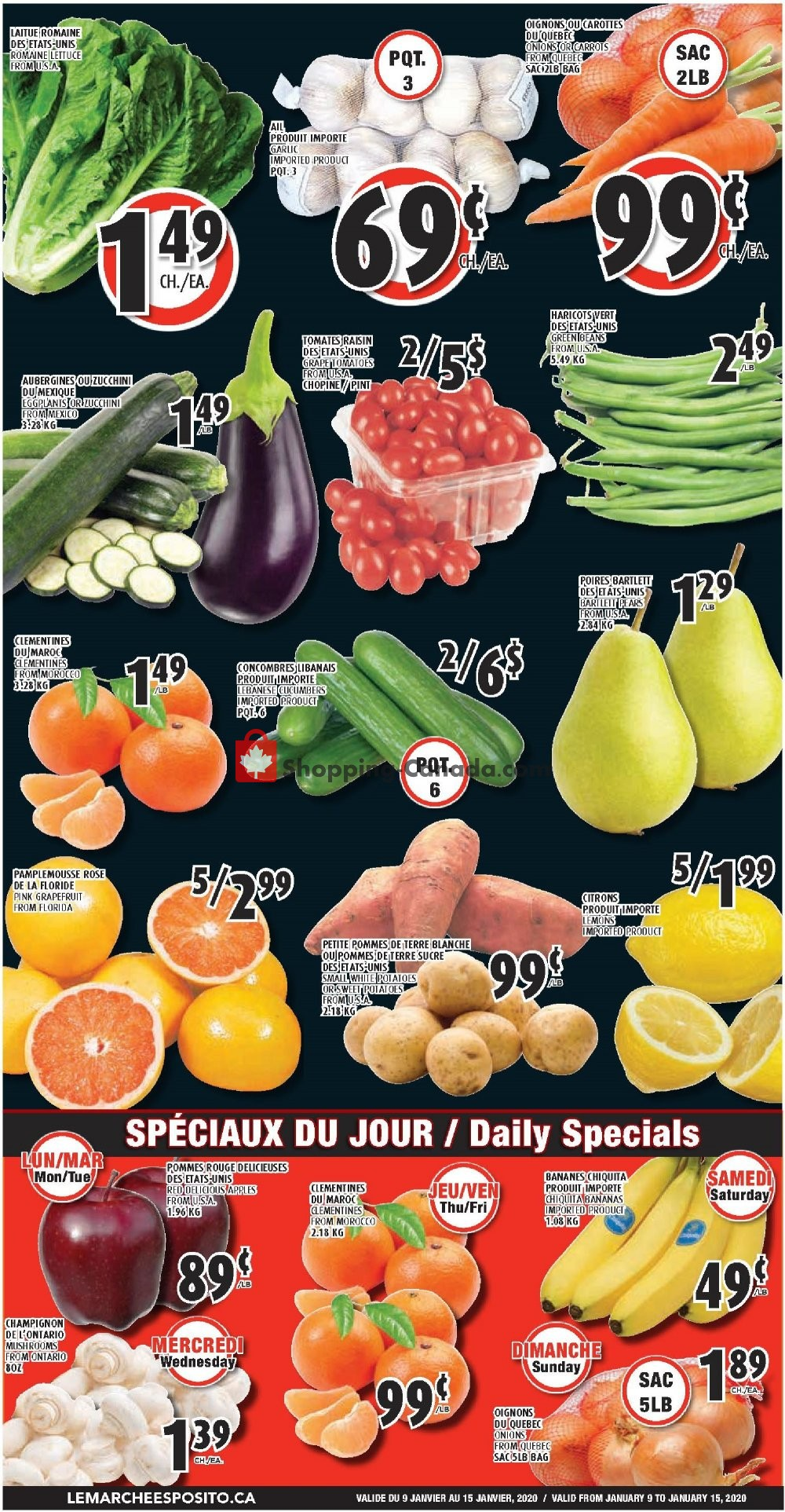 Flyer Le Marché Esposito Canada - from Thursday January 9, 2020 to Wednesday January 15, 2020