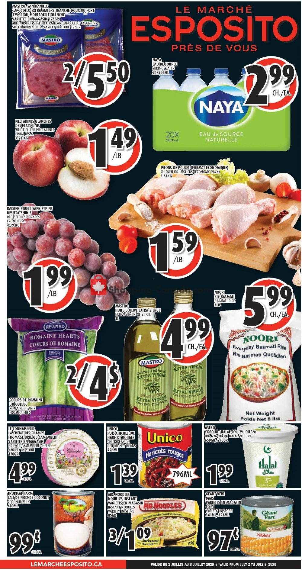 Flyer Le Marché Esposito Canada - from Thursday July 2, 2020 to Wednesday July 8, 2020