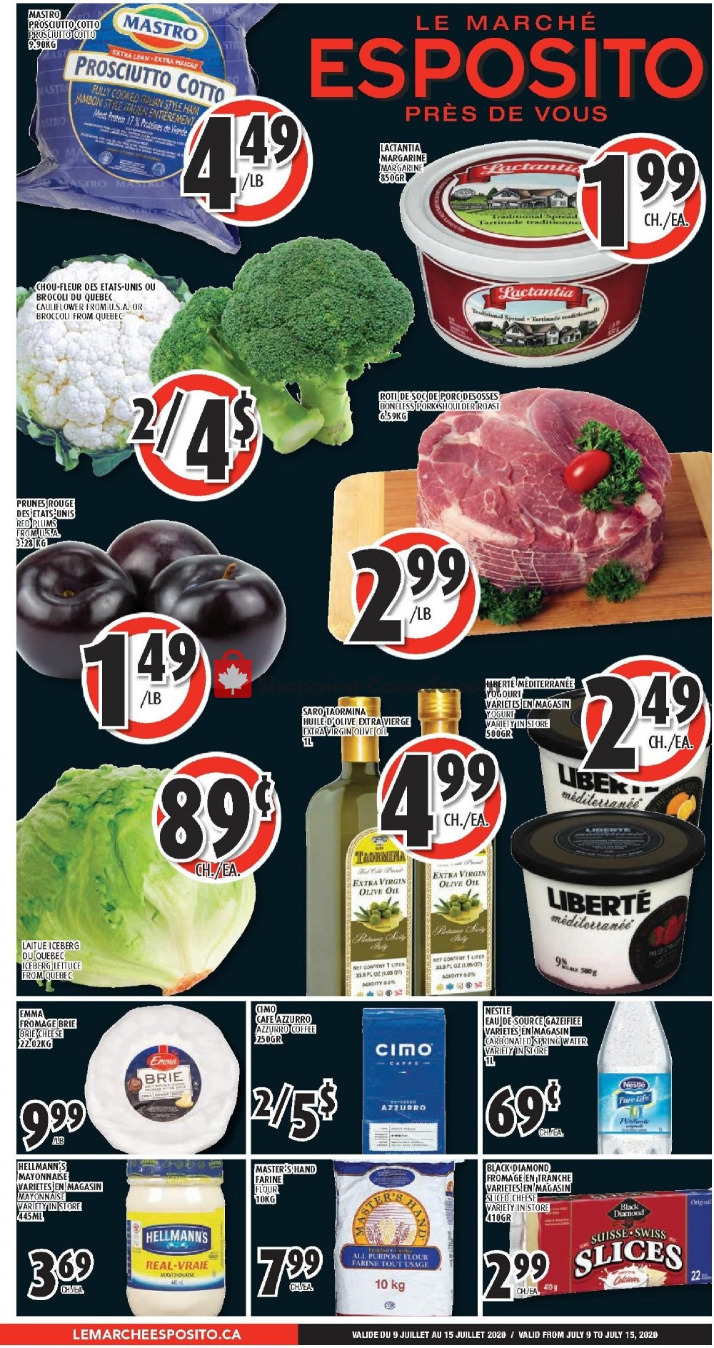 Flyer Le Marché Esposito Canada - from Thursday July 9, 2020 to Wednesday July 15, 2020