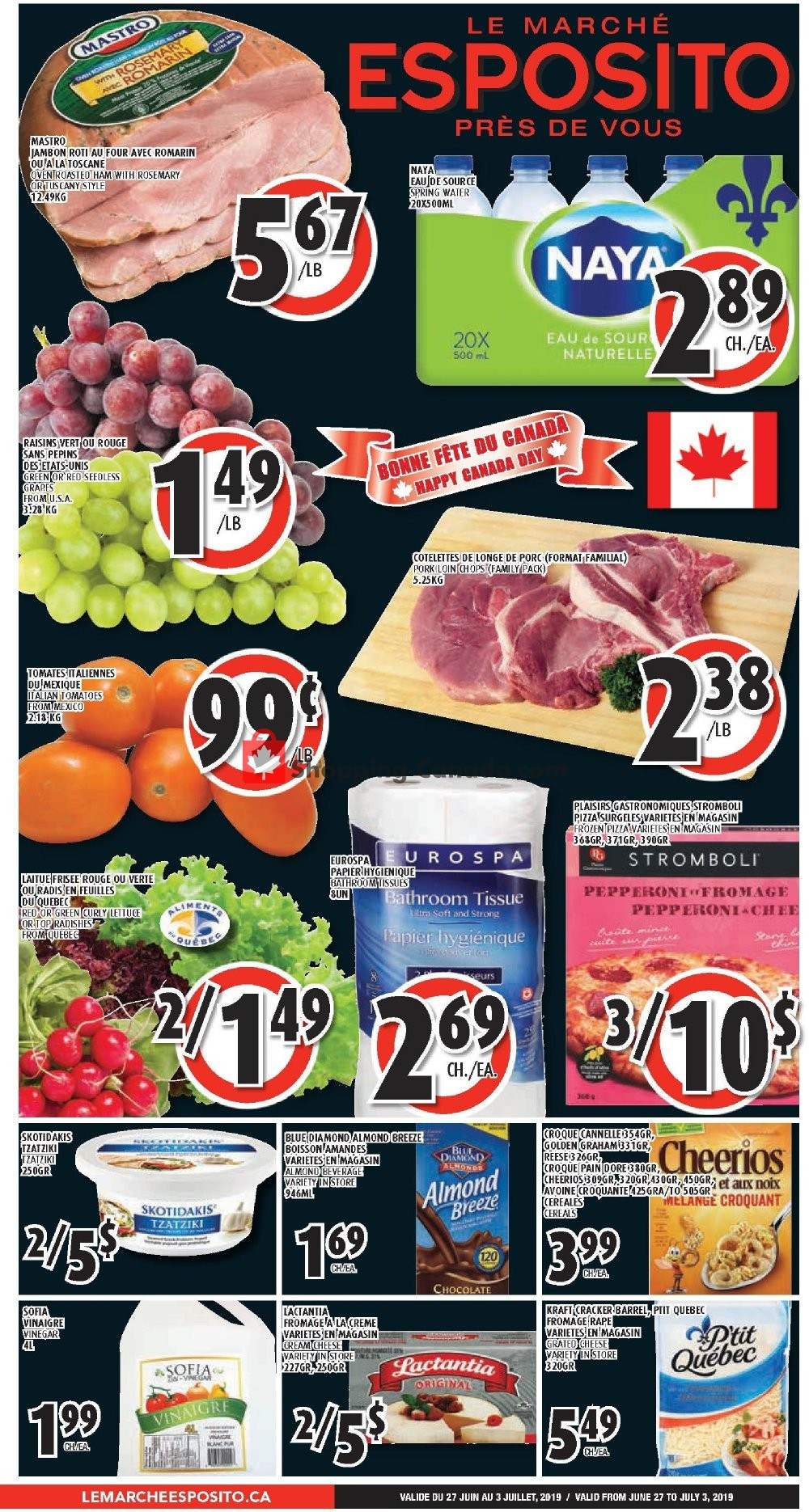 Flyer Le Marché Esposito Canada - from Thursday June 27, 2019 to Wednesday July 3, 2019