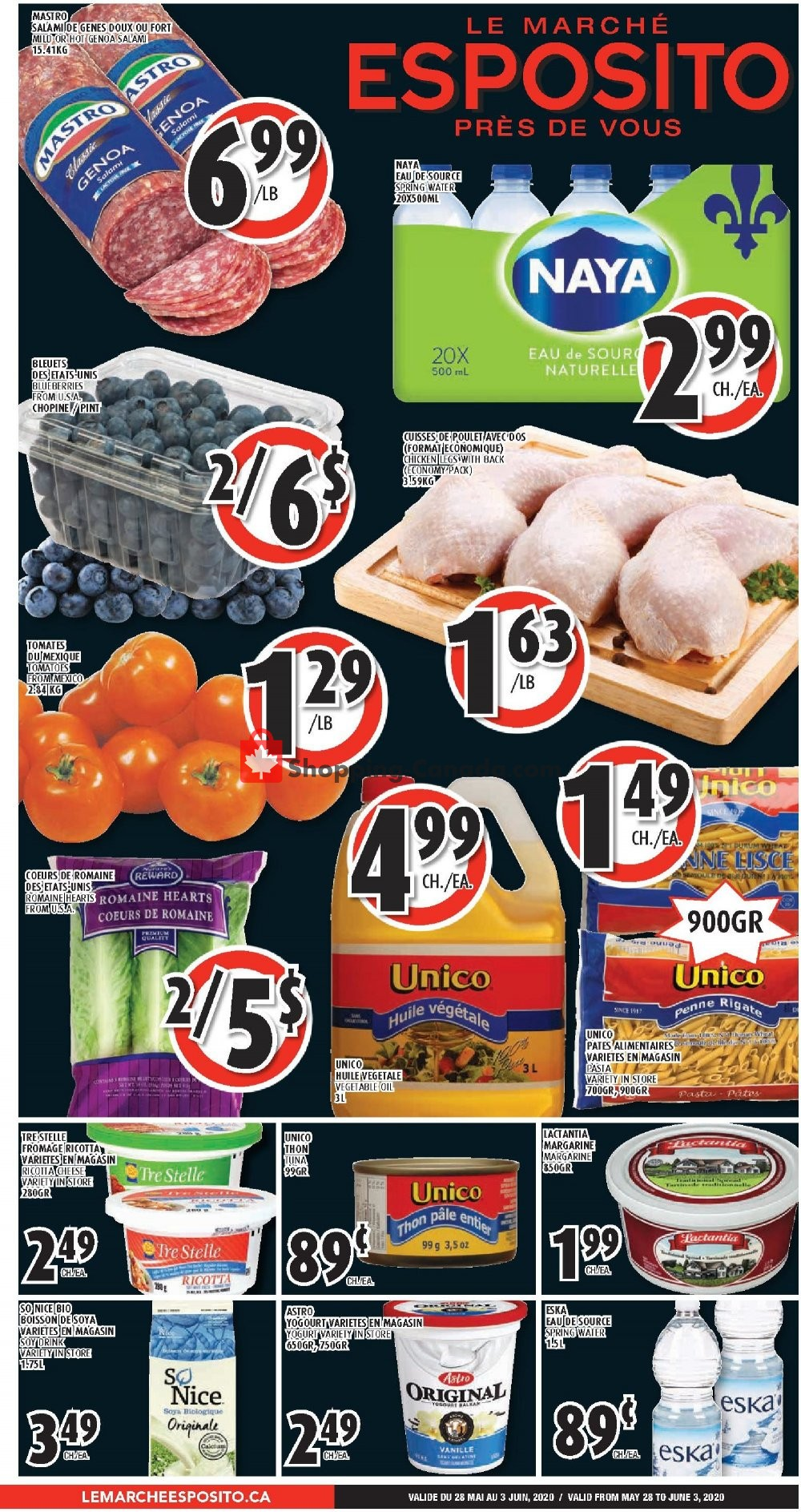 Flyer Le Marché Esposito Canada - from Thursday May 28, 2020 to Wednesday June 3, 2020
