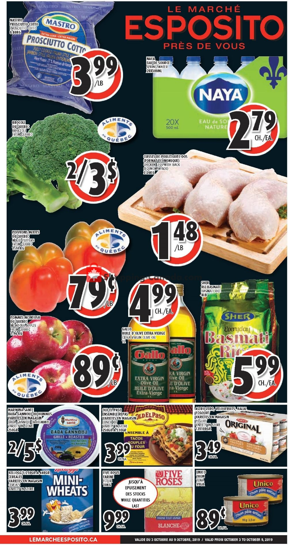 Flyer Le Marché Esposito Canada - from Thursday October 3, 2019 to Wednesday October 9, 2019