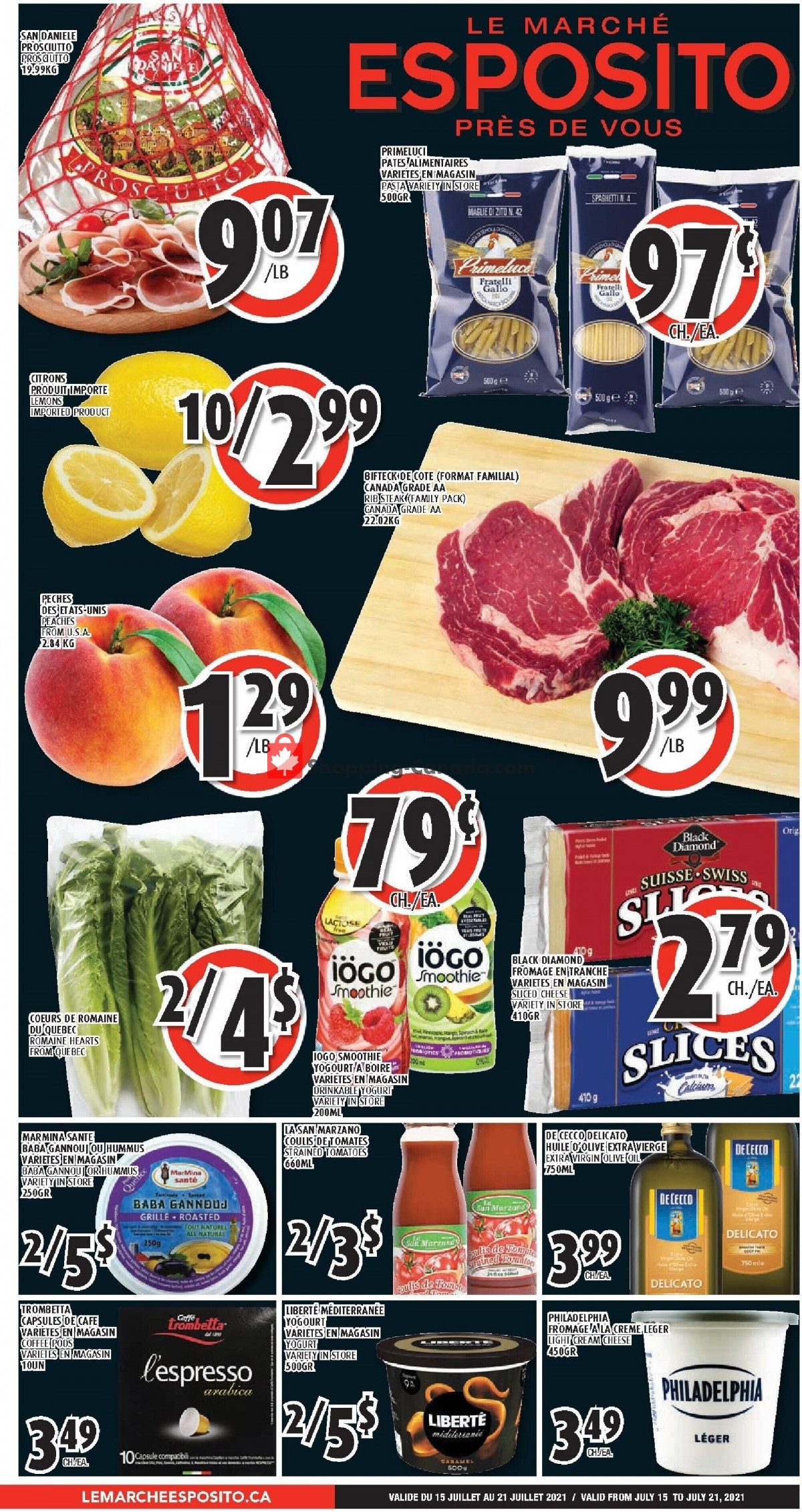 Flyer Le Marché Esposito Canada - from Thursday July 15, 2021 to Wednesday July 21, 2021