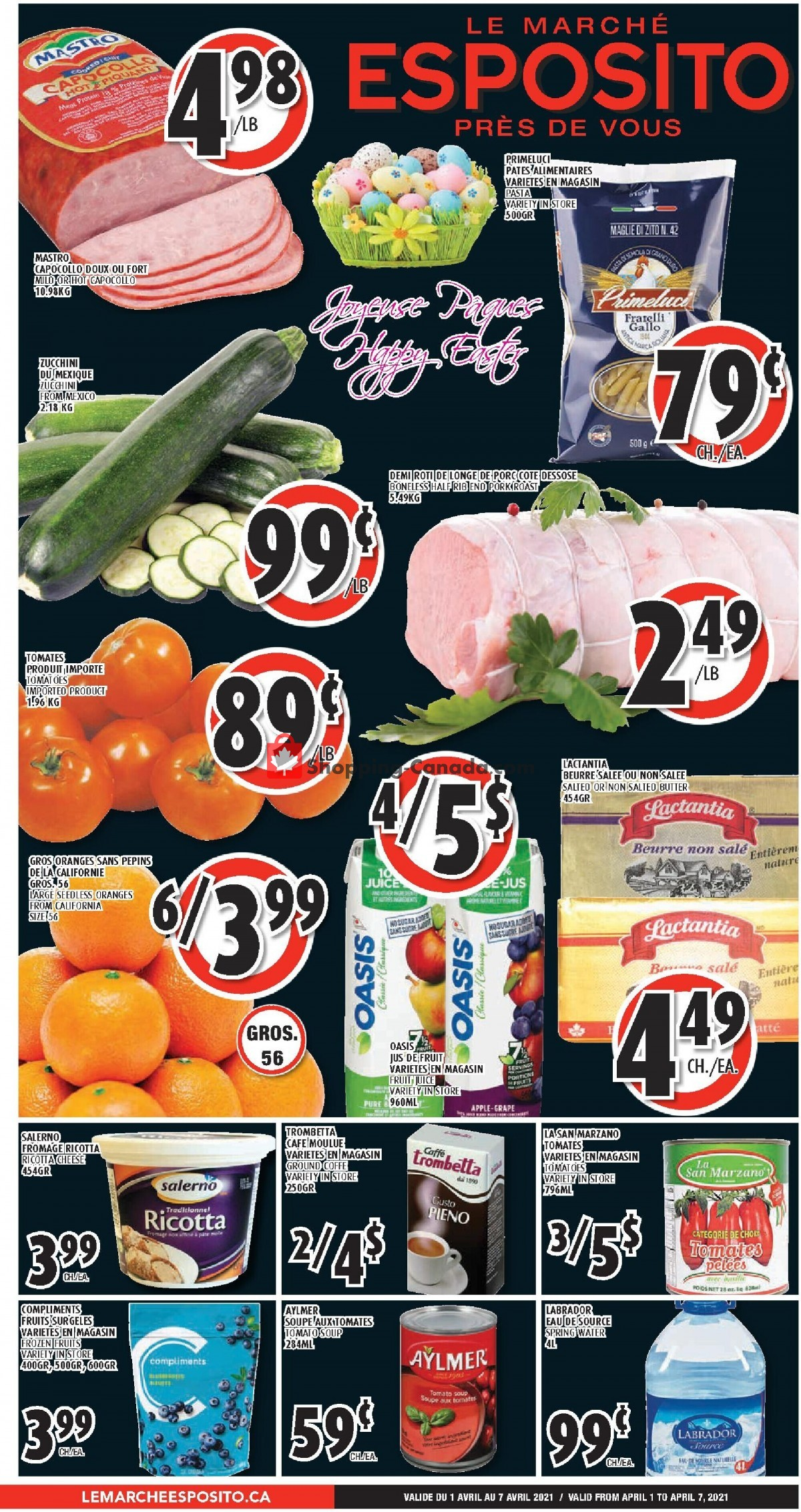 Flyer Le Marché Esposito Canada - from Thursday April 1, 2021 to Wednesday April 7, 2021