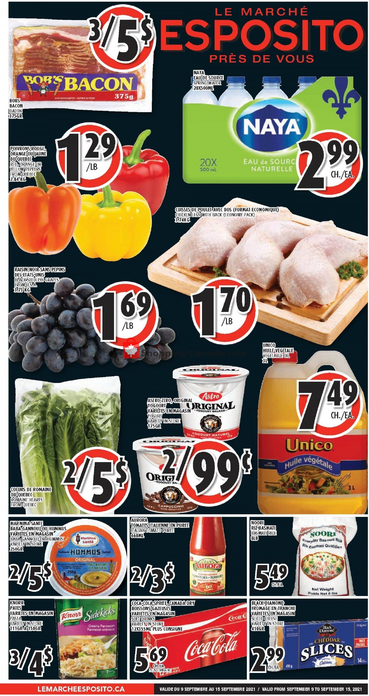 Flyer Le Marché Esposito Canada - from Thursday September 9, 2021 to Wednesday September 15, 2021