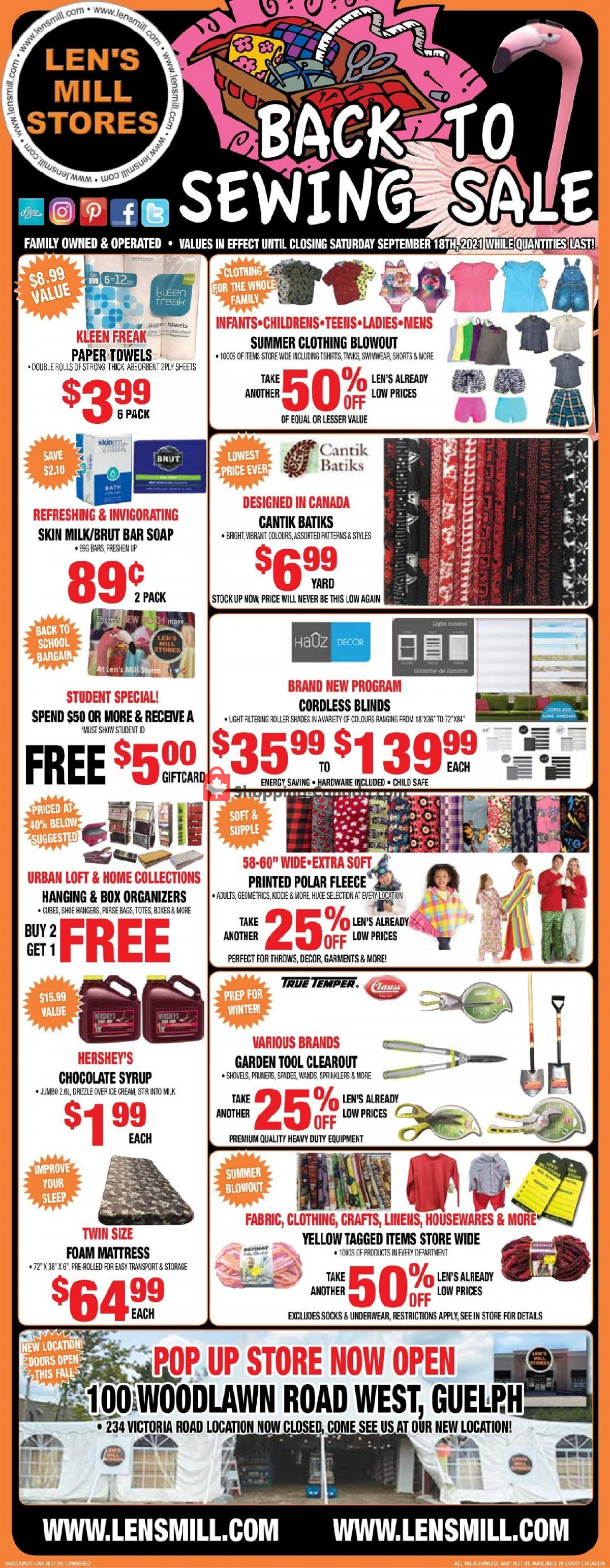 Flyer Len's Mill Stores Canada - from Sunday September 5, 2021 to Saturday September 18, 2021