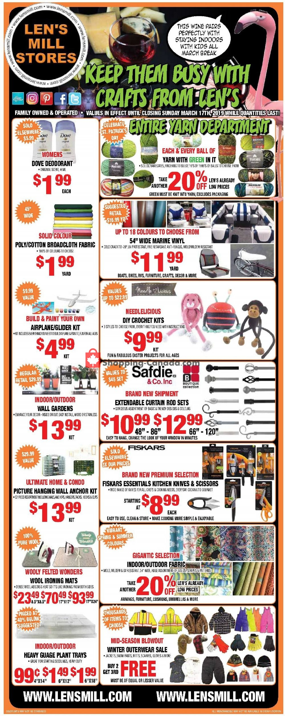 Flyer Len's Mill Stores Canada - from Monday March 4, 2019 to Sunday March 17, 2019