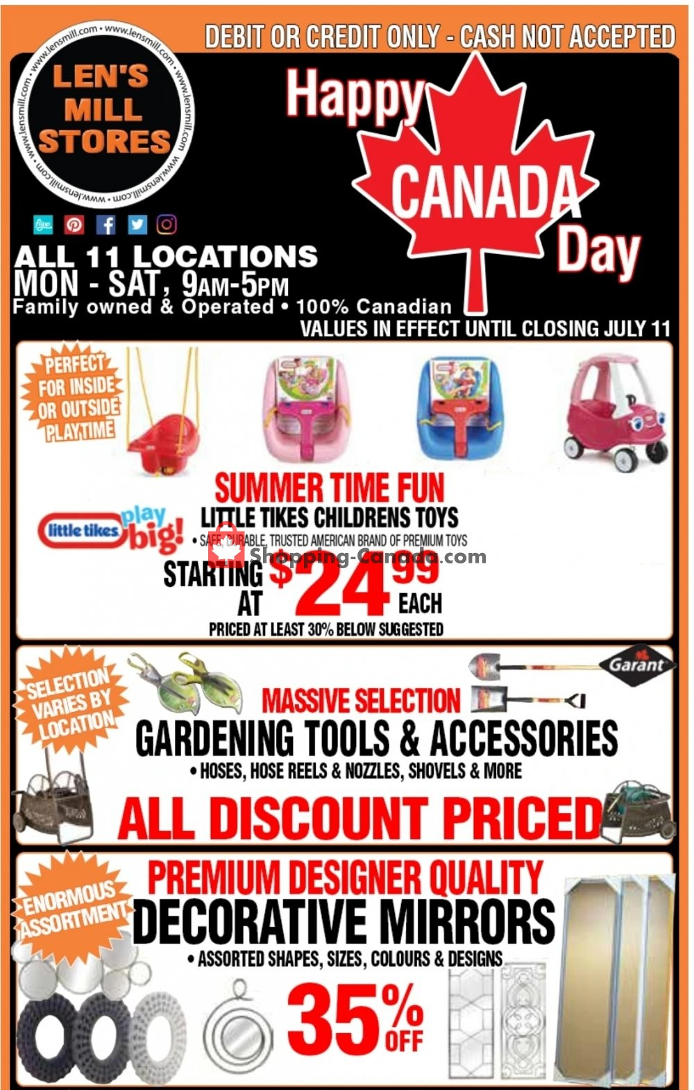 Flyer Len's Mill Stores Canada - from Sunday June 28, 2020 to Saturday July 11, 2020