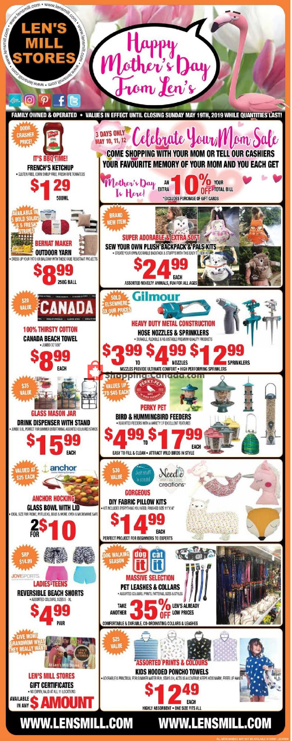 Flyer Len's Mill Stores Canada - from Monday May 6, 2019 to Sunday May 19, 2019