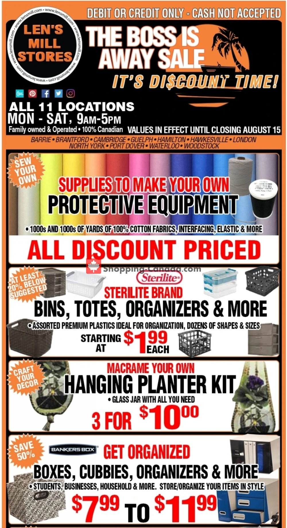 Flyer Len's Mill Stores Canada - from Sunday August 2, 2020 to Saturday August 15, 2020