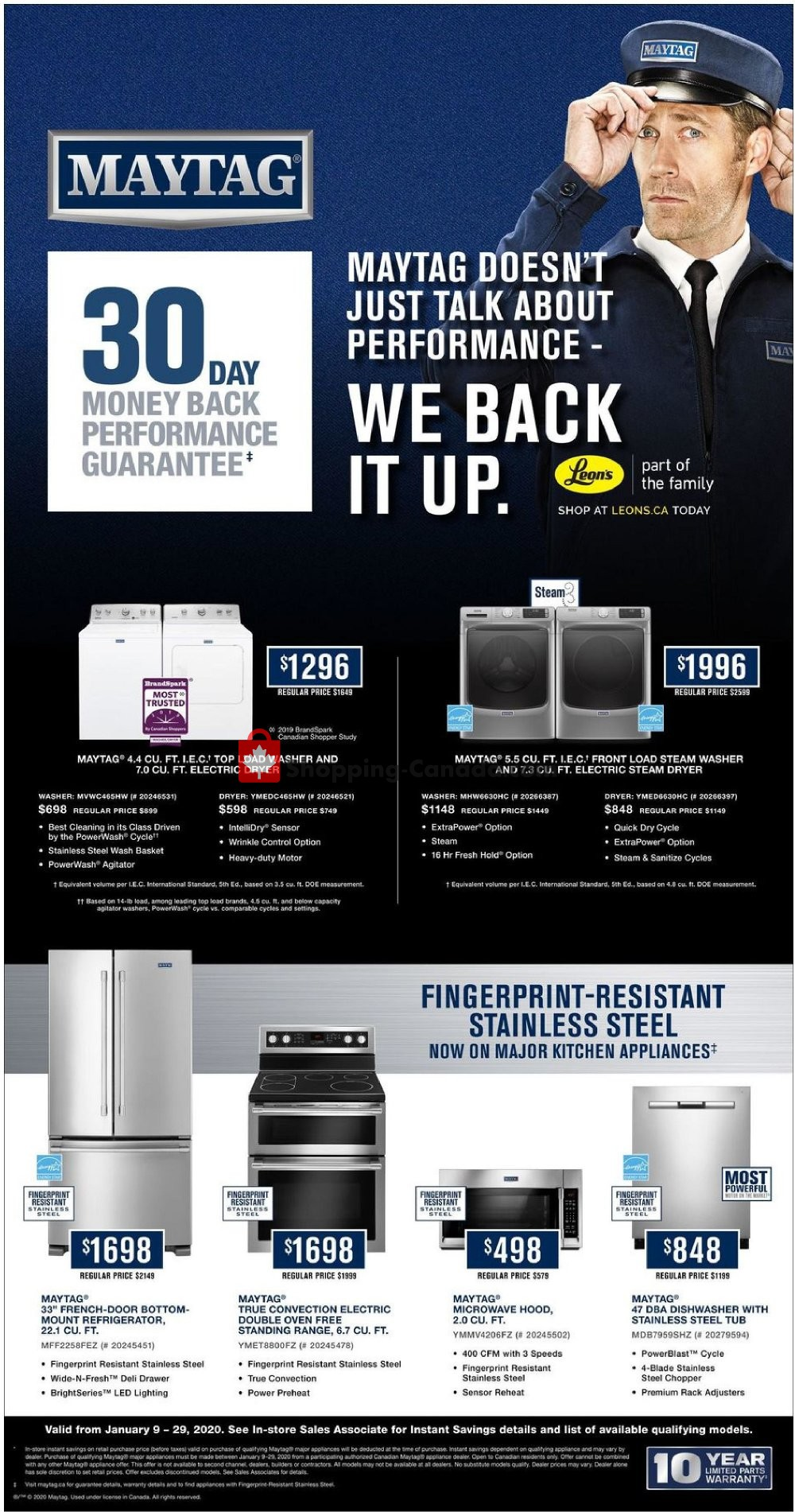 Flyer Leon's Furniture Canada - from Thursday January 9, 2020 to Wednesday January 29, 2020