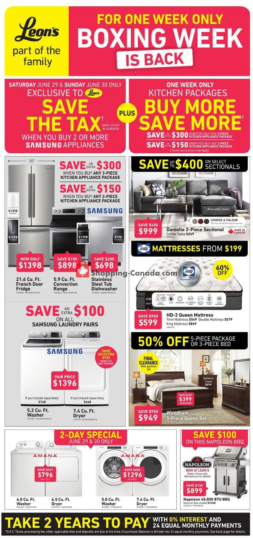 Flyer Leon's Furniture Canada - from Wednesday June 26, 2019 to Wednesday July 3, 2019
