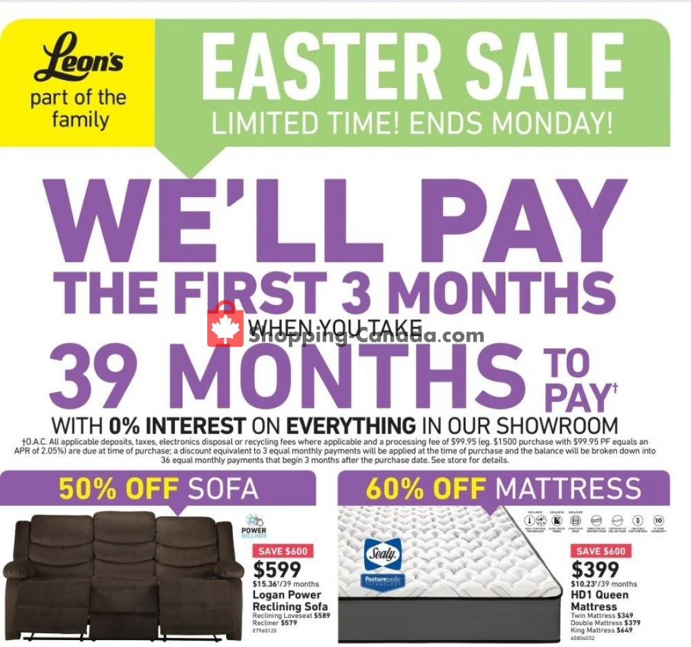 Flyer Leon's Furniture Canada - from Thursday April 18, 2019 to Tuesday April 23, 2019