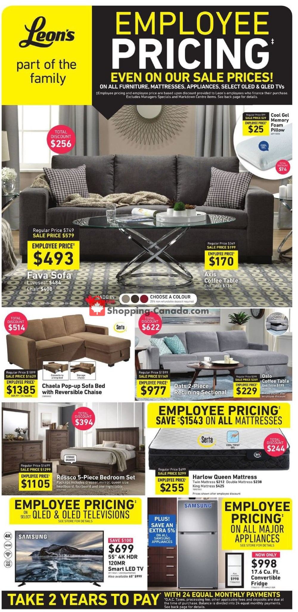 Flyer Leon's Furniture Canada - from Wednesday March 13, 2019 to Wednesday March 20, 2019