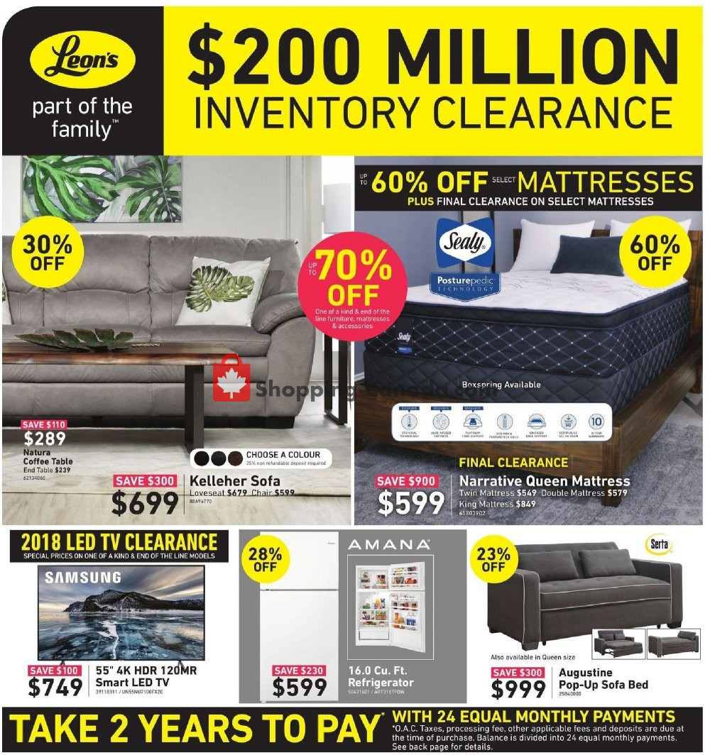 Flyer Leon's Furniture Canada - from Wednesday February 13, 2019 to Wednesday February 20, 2019