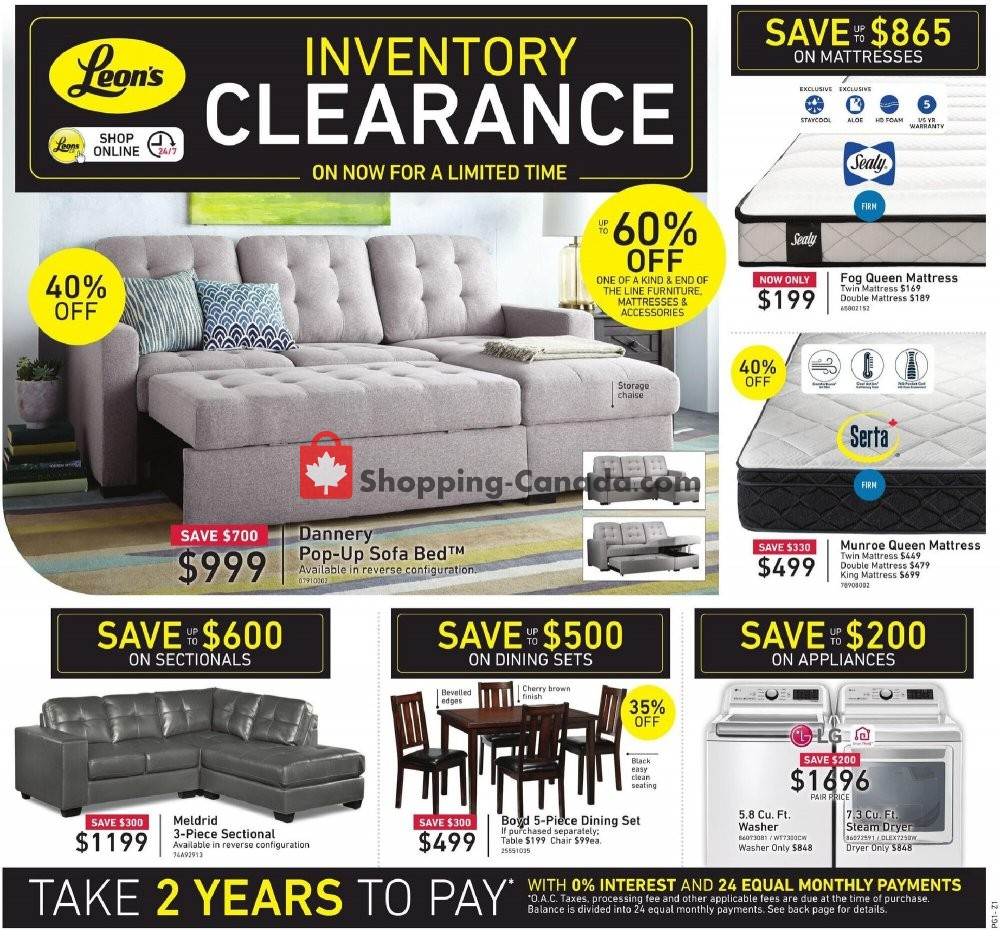 Flyer Leon's Furniture Canada - from Thursday January 14, 2021 to Wednesday January 27, 2021