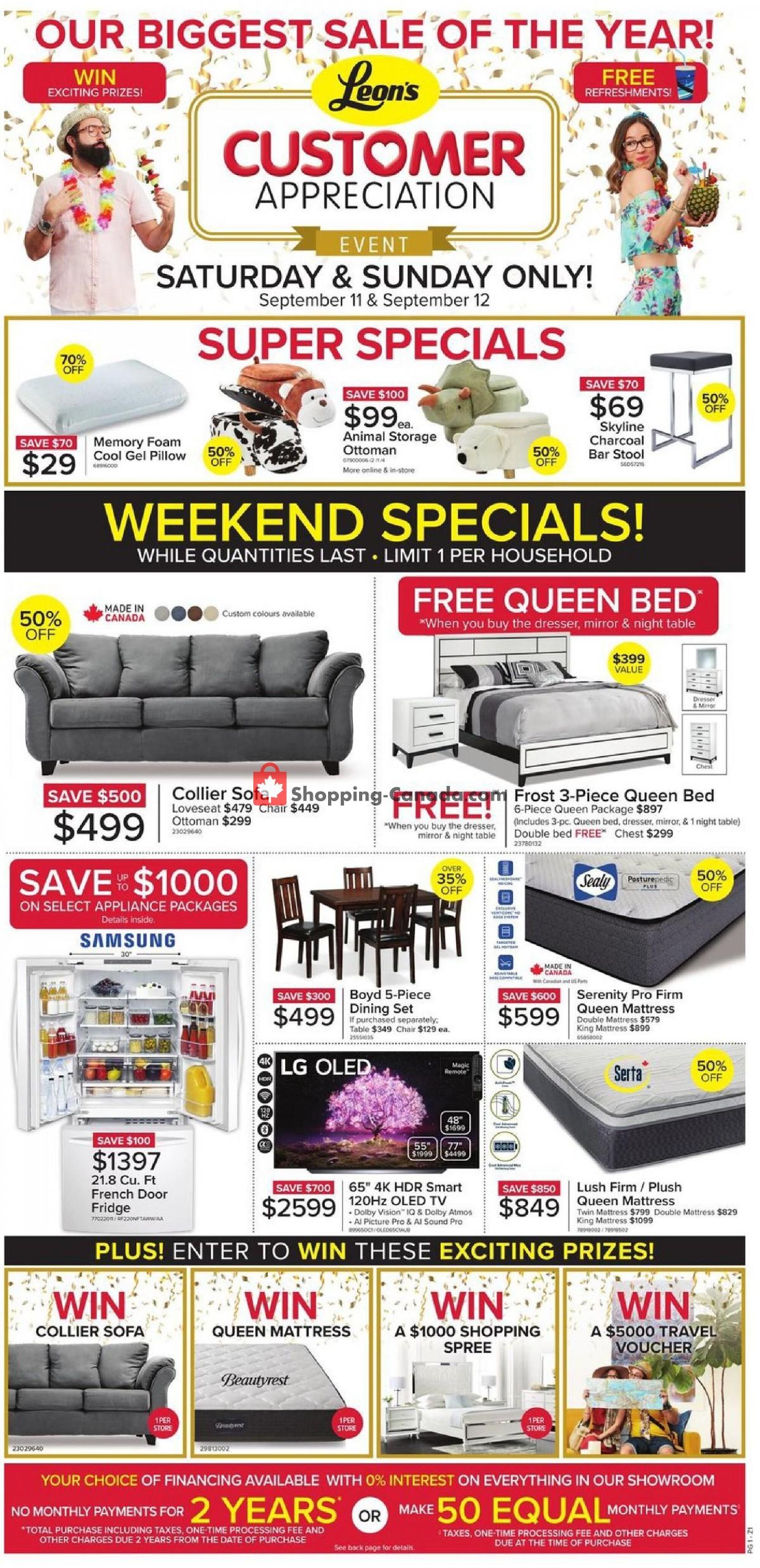 Flyer Leon's Furniture Canada - from Thursday September 9, 2021 to Wednesday September 15, 2021