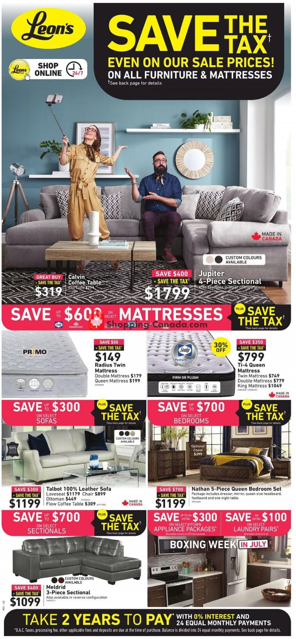 Flyer Leon's Furniture Canada - from Friday July 3, 2020 to Wednesday July 15, 2020