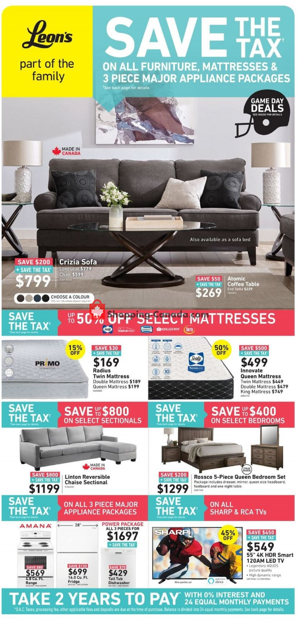 Flyer Leon's Furniture Canada - from Wednesday January 23, 2019 to Tuesday February 5, 2019