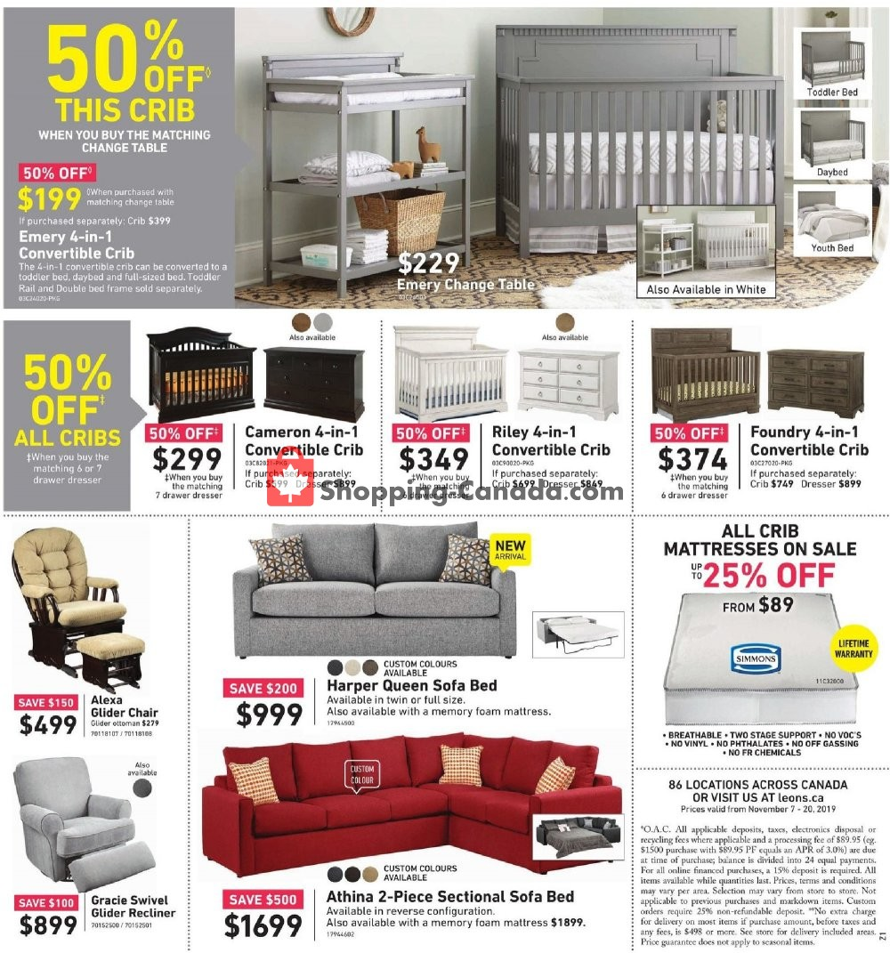 Flyer Leon's Furniture Canada - from Thursday November 7, 2019 to Wednesday November 20, 2019