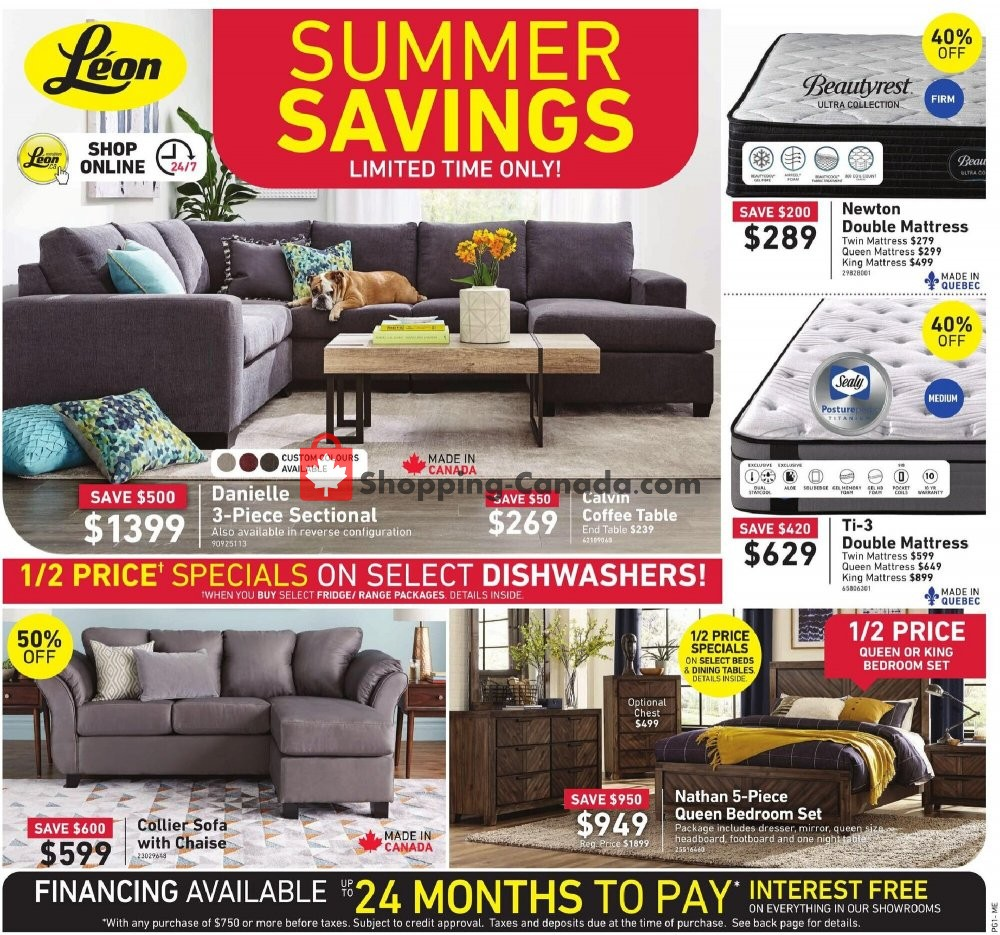 Flyer Leon's Furniture Canada - from Wednesday July 29, 2020 to Wednesday August 12, 2020
