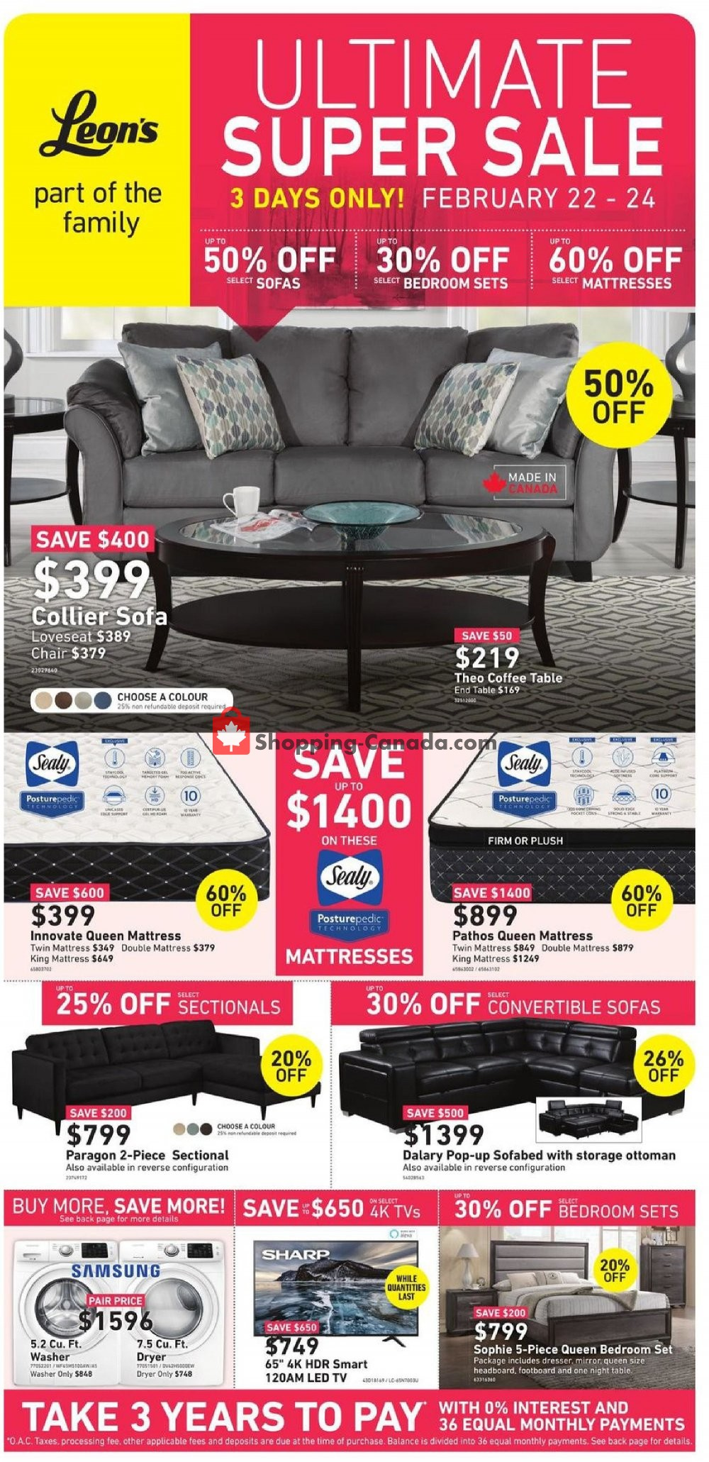 Flyer Leon's Furniture Canada - from Friday February 22, 2019 to Sunday February 24, 2019