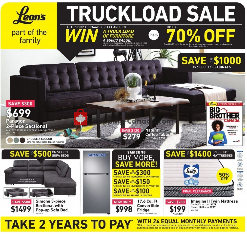 Flyer Leon's Furniture Canada - from Tuesday April 23, 2019 to Wednesday May 1, 2019
