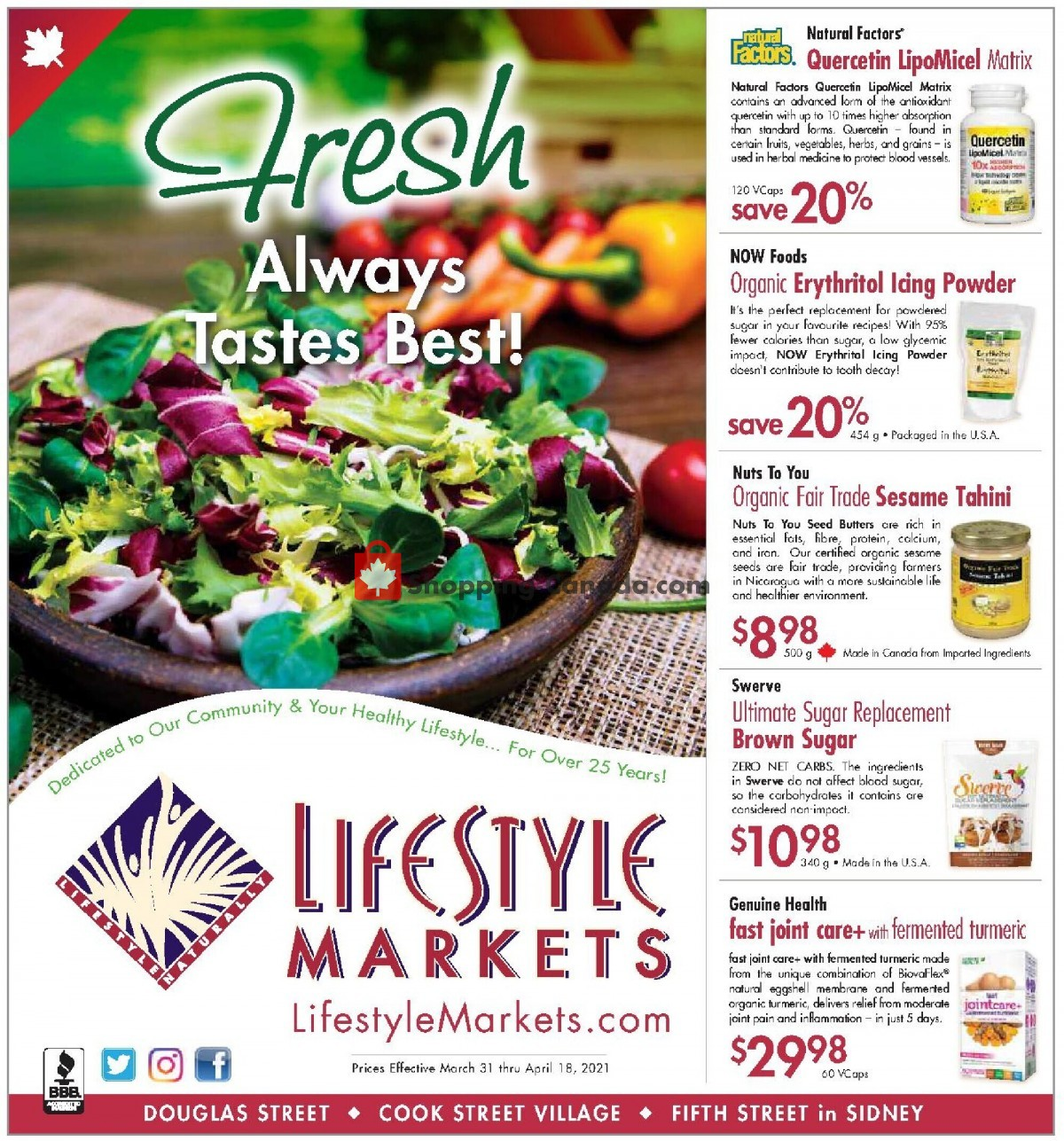 Flyer Lifestyle Markets Canada - from Wednesday March 31, 2021 to Sunday April 18, 2021
