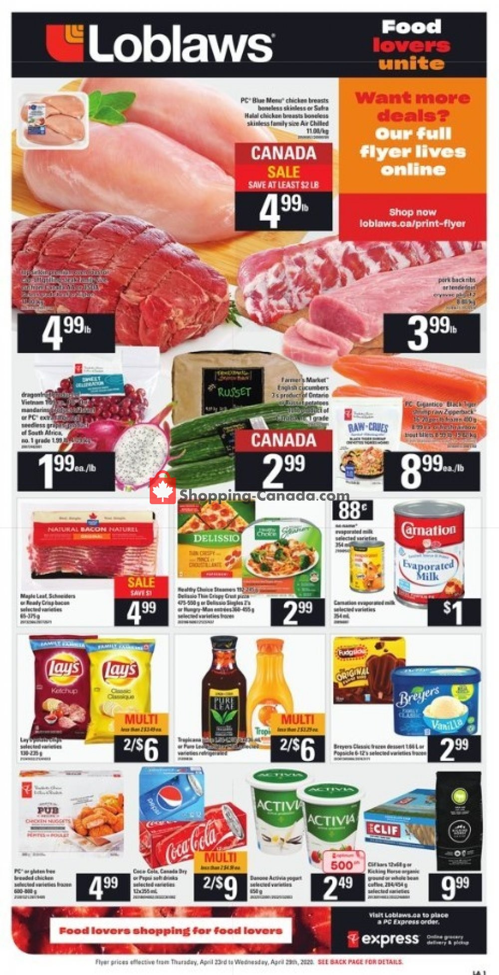 Flyer Loblaws Canada - from Thursday April 23, 2020 to Wednesday April 29, 2020
