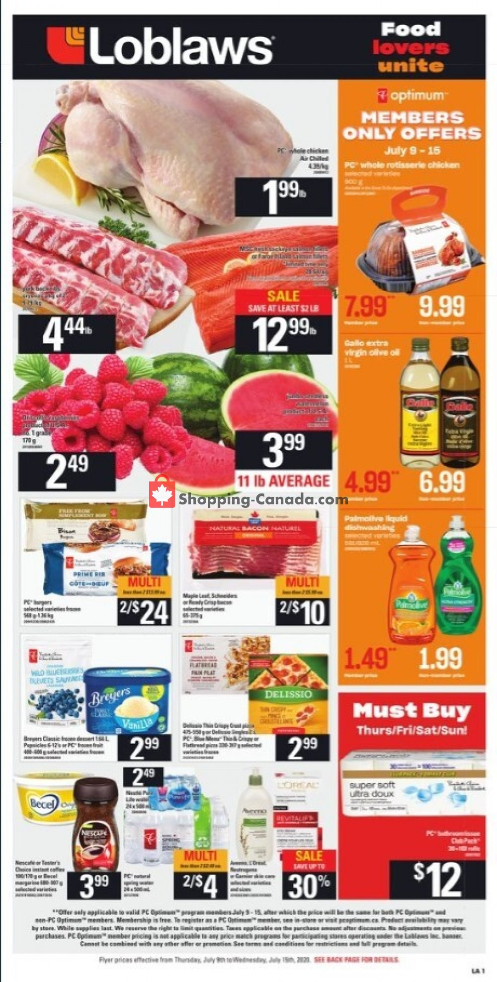 Flyer Loblaws Canada - from Thursday July 9, 2020 to Wednesday July 15, 2020