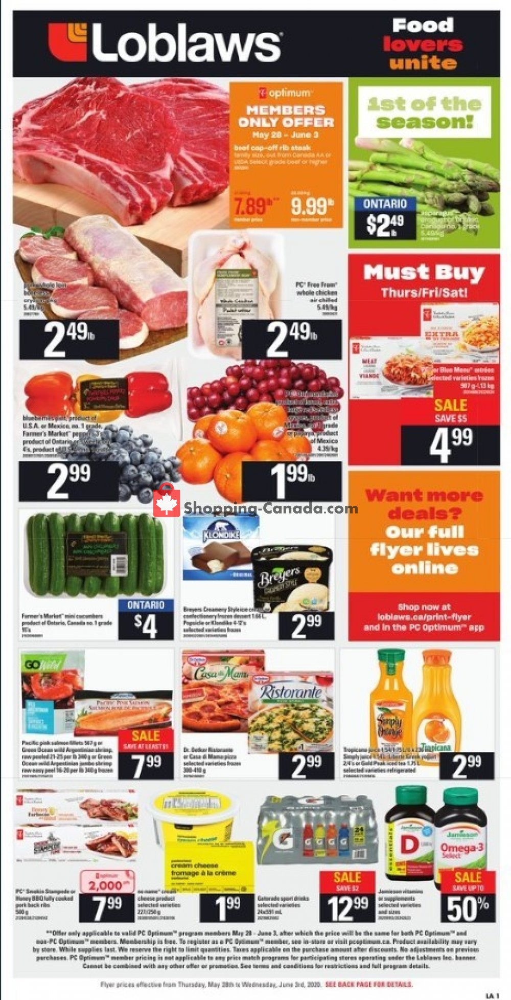 Flyer Loblaws Canada - from Thursday May 28, 2020 to Wednesday June 3, 2020