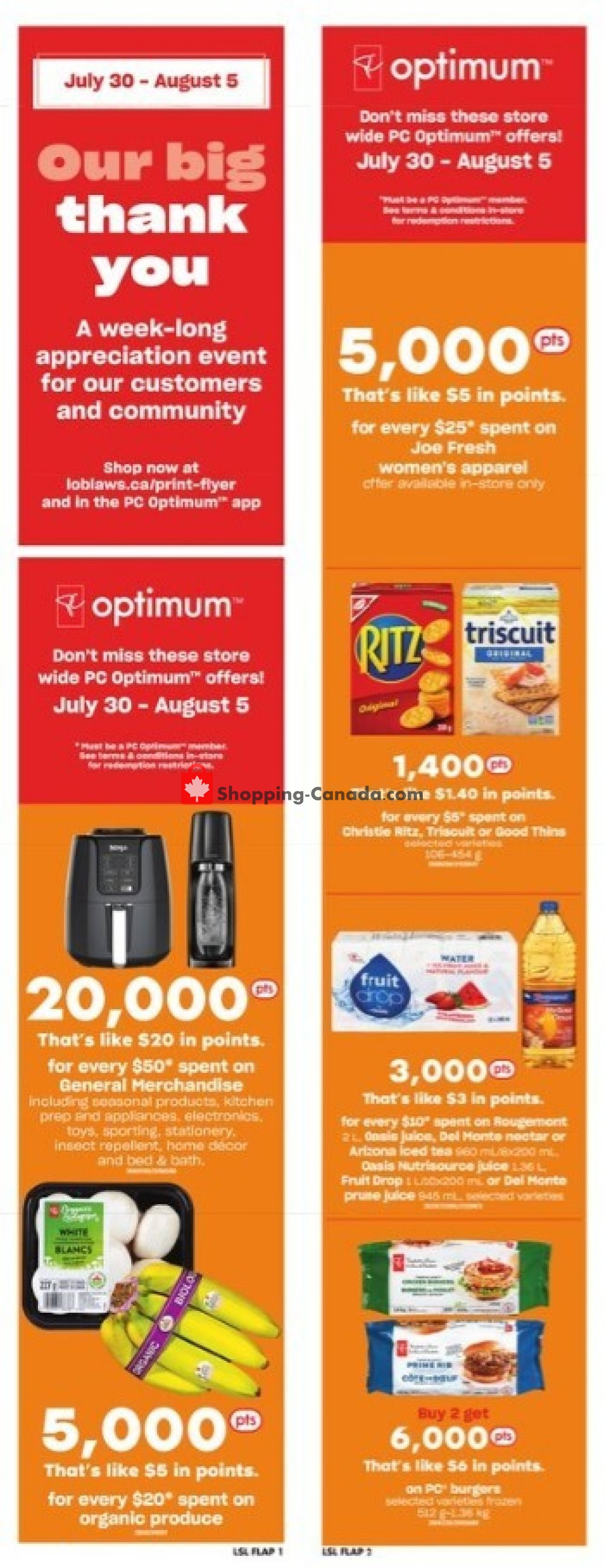 Flyer Loblaws Canada - from Thursday July 30, 2020 to Wednesday August 5, 2020