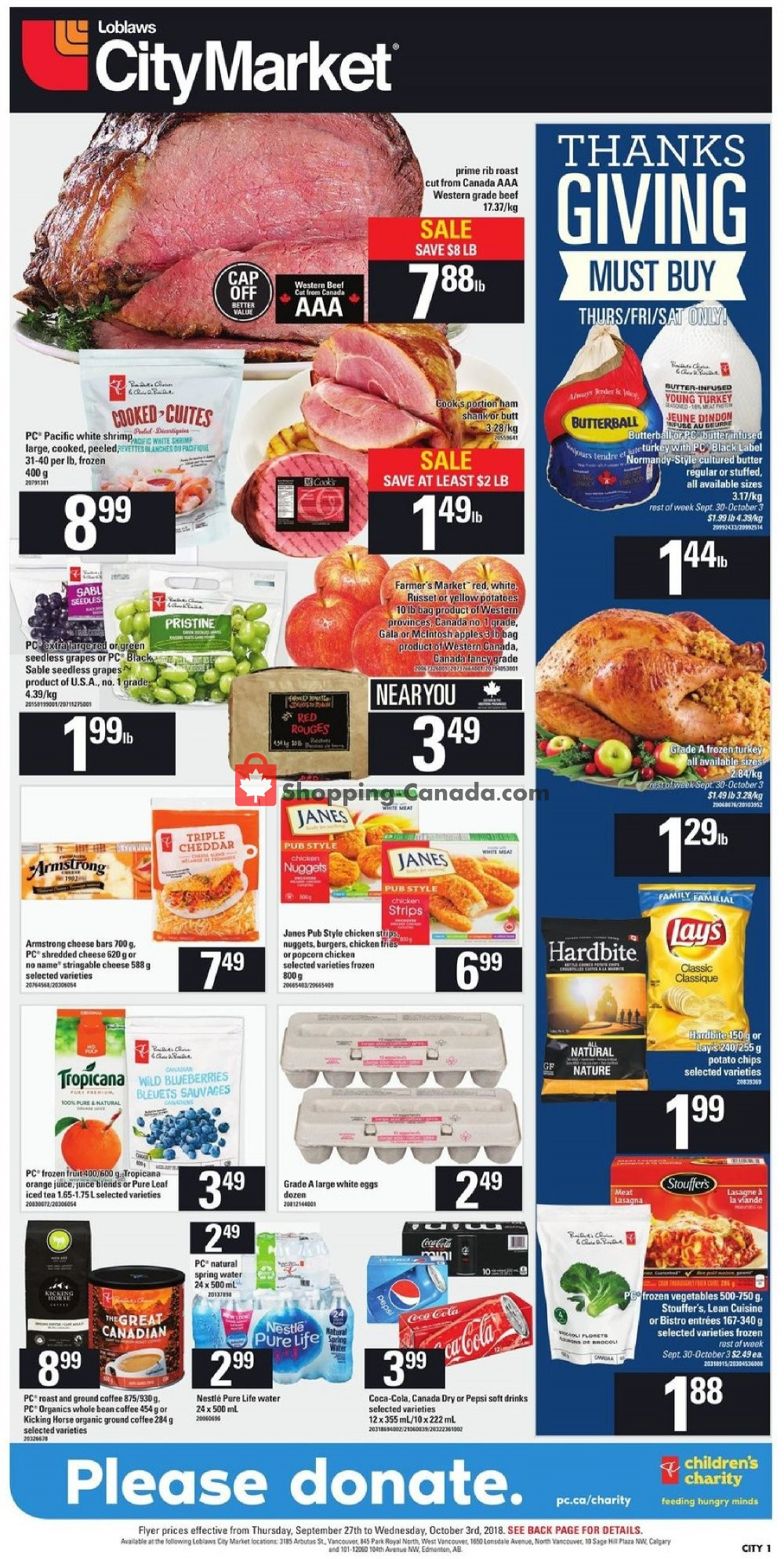 Flyer Loblaws Canada - from Thursday September 27, 2018 to Wednesday October 3, 2018