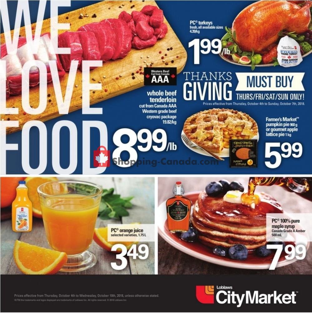 Flyer Loblaws Canada - from Thursday October 4, 2018 to Wednesday October 10, 2018
