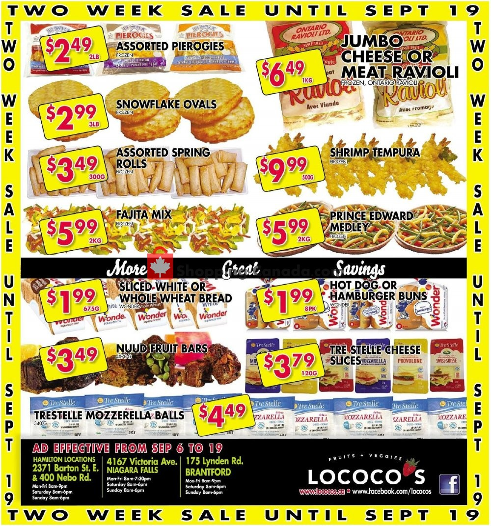 Flyer Lococo's Canada - from Friday September 6, 2019 to Thursday September 19, 2019