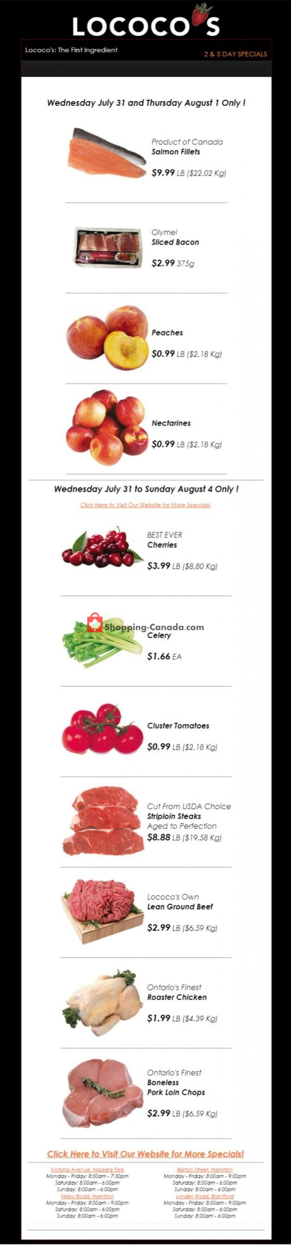 Flyer Lococo's Canada - from Wednesday July 31, 2019 to Thursday August 1, 2019