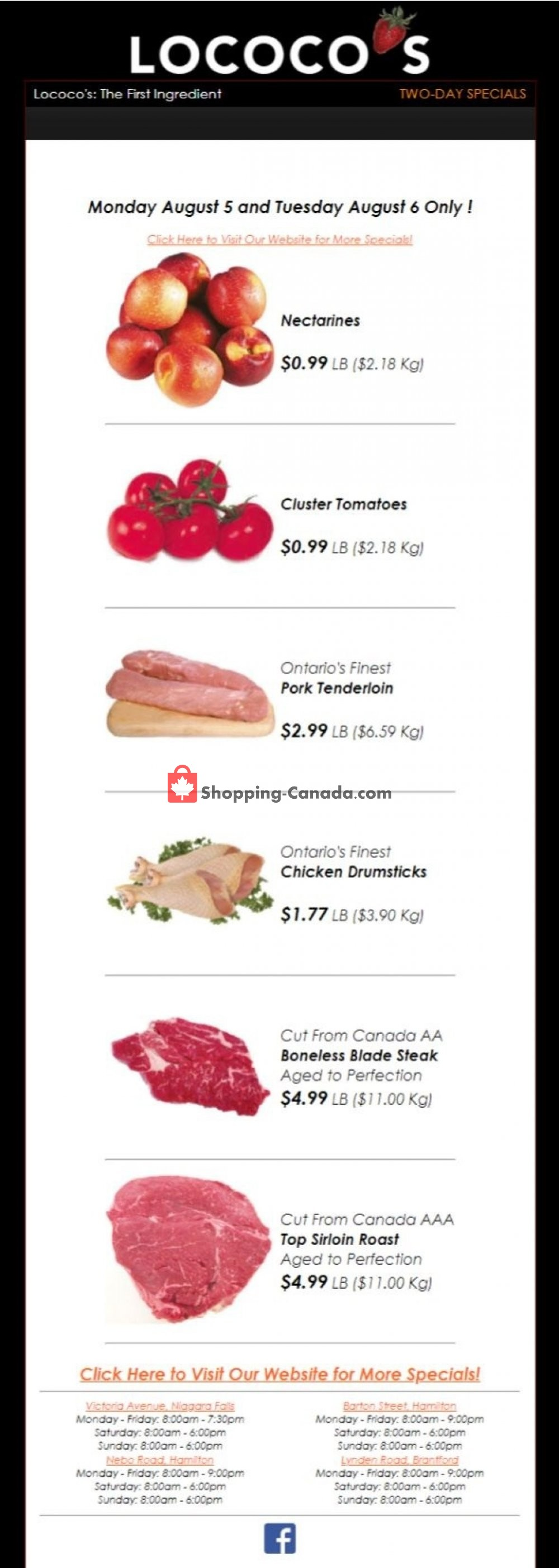 Flyer Lococo's Canada - from Monday August 5, 2019 to Tuesday August 6, 2019