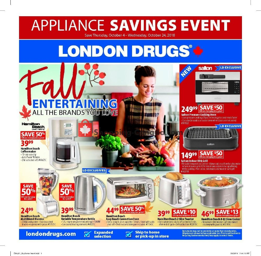 Flyer London Drugs Canada - from Thursday October 4, 2018 to Wednesday October 24, 2018